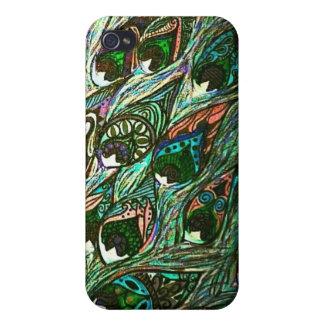 caso del iphone de la pluma del pavo real del vint iPhone 4/4S carcasas