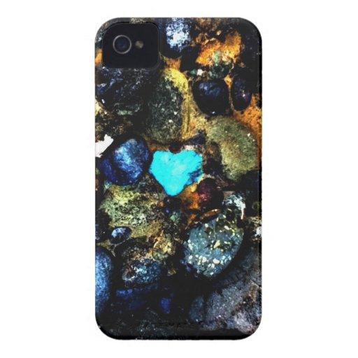 Caso del iPhone de la roca del corazón iPhone 4 Fundas