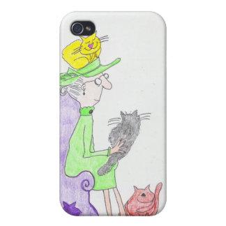 Caso del iphone de la señora del gato iPhone 4/4S carcasa