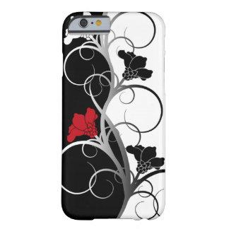 Caso del iPhone de las flores negras/blancas Funda Barely There iPhone 6