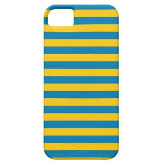 Caso del iPhone de las rayas del azul y del oro iPhone 5 Fundas