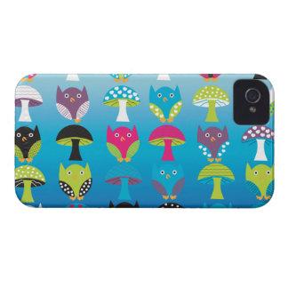 Caso del iphone de los búhos y de las setas iPhone 4 carcasas