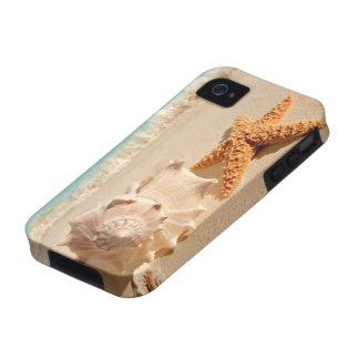 Caso del iphone de los seashells de la playa del v iPhone 4 carcasa