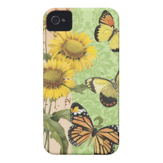 Caso del iphone de moda 4 de los girasoles y de Case-Mate iPhone 4 fundas