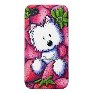 Caso del iPhone de Westie de las fresas de KiniArt iPhone 4/4S Carcasa