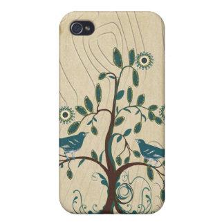 Caso del iPhone del árbol del remolino del pájaro  iPhone 4/4S Fundas