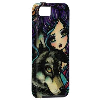 Caso del iPhone del arte de la fantasía del lobo y Funda Para iPhone 5 Tough