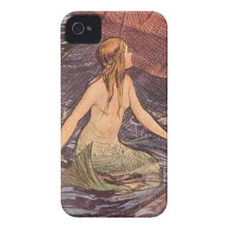 Caso del iPhone del arte de la sirena del vintage iPhone 4 Case-Mate Cárcasas