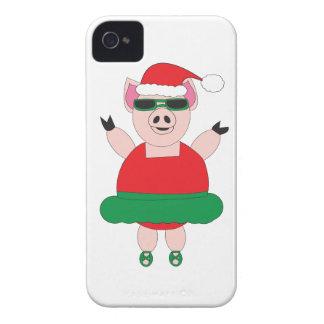 Caso del iphone del cerdo del ballet del navidad funda para iPhone 4 de Case-Mate