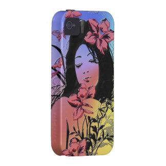 Caso del iPhone del chica 3 de la mariposa iPhone 4 Fundas