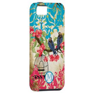 Caso del iPhone del damasco del pájaro del Birdcag iPhone 5 Case-Mate Cárcasa