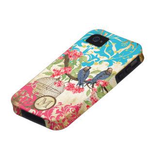 Caso del iPhone del damasco del pájaro del iPhone 4/4S Carcasas