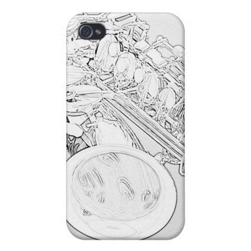 Caso del iphone del dibujo lineal del saxofón iPhone 4 protectores
