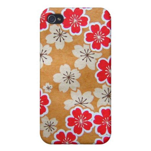 Caso del iPhone del estampado de flores iPhone 4 Fundas