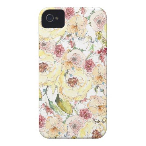 Caso del iPhone del estampado de plores de la acua iPhone 4 Case-Mate Coberturas