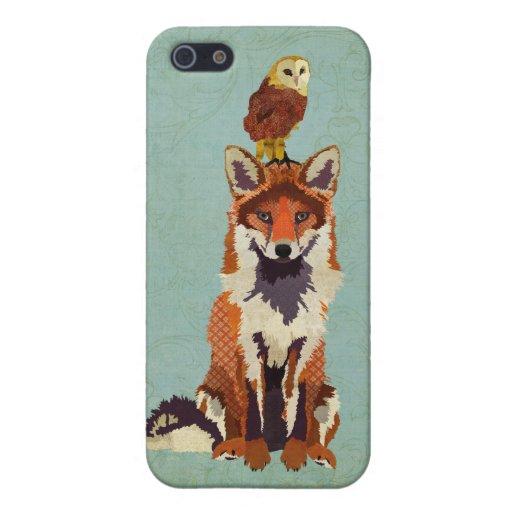 Caso del iPhone del Fox rojo y del búho iPhone 5 Protector