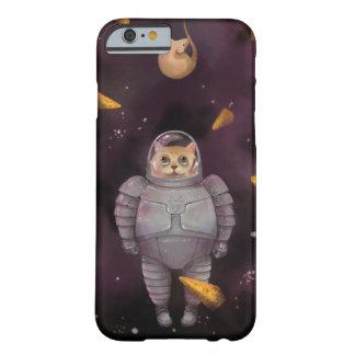 Caso del iPhone del gato del astronauta Funda De iPhone 6 Barely There
