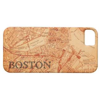 Caso del iPhone del mapa de Boston del vintage Funda Para iPhone 5 Barely There