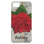 Caso del iPhone del nombre del rosa rojo