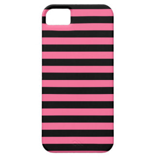 Caso del iPhone del rosa y de las rayas negras iPhone 5 Funda