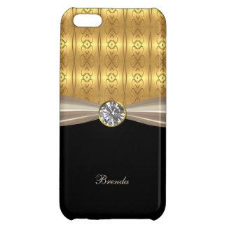 Caso del iPhone elegante 5C del oro y del diamante