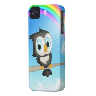 Caso del iPhone lindo 4 del búho y del arco iris Funda Para iPhone 4
