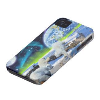 Caso del iPhone lindo 4 del oso polar Cubs y de la iPhone 4 Case-Mate Cárcasas