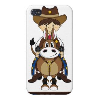 Caso del iphone lindo 4 del vaquero y del caballo iPhone 4 cárcasas
