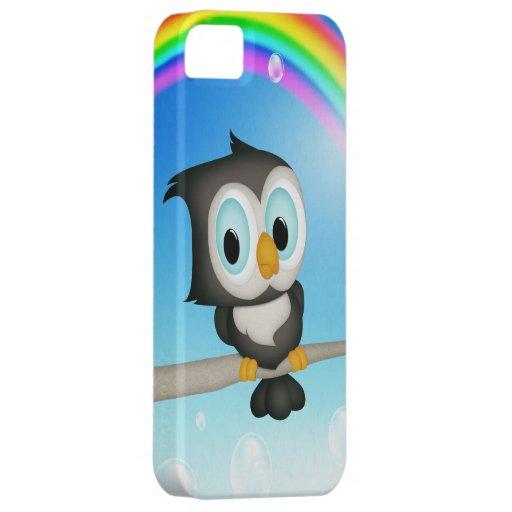 Caso del iPhone lindo 5 del búho y del arco iris iPhone 5 Case-Mate Carcasa