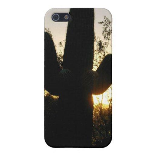 caso del iPhone/puesta del sol del Saguaro iPhone 5 Protector