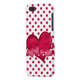 Caso del iPhone rojo 5 de los corazones y de los p iPhone 5 Carcasas