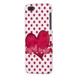 Caso del iPhone rojo 5 de los corazones y de los p iPhone 5 Fundas