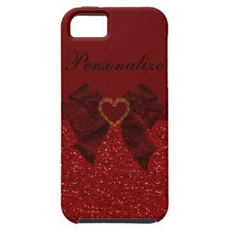 Caso del iPhone rojo 5 del brillo del corazón y d iPhone 5 Cárcasa