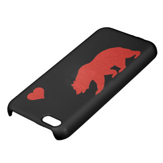 Caso del iPhone rojo 5 del oso y del corazón del a
