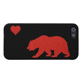 Caso del iPhone rojo 5 del oso y del corazón del a iPhone 5 Cobertura