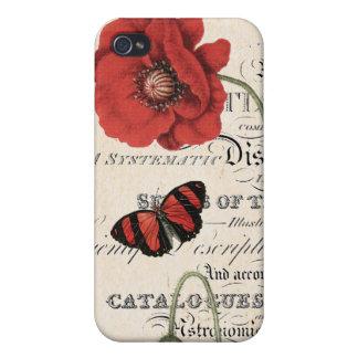 Caso del iphone rojo de las amapolas y de la marip iPhone 4 fundas