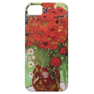 Caso del iPhone rojo de las amapolas y de las marg iPhone 5 Carcasas