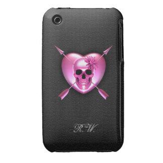 Caso del iPhone rosado 3G/3GS del corazón y del cr iPhone 3 Protector