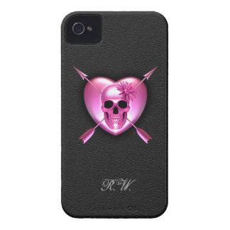 Caso del iPhone rosado 4/4s del corazón y del crán iPhone 4 Case-Mate Protector