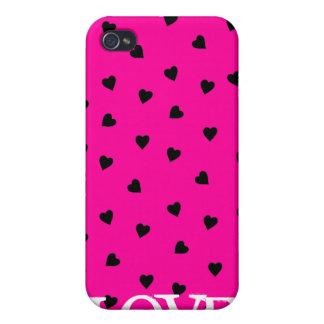 Caso del iPhone rosado 4 de los corazones y del am iPhone 4/4S Fundas