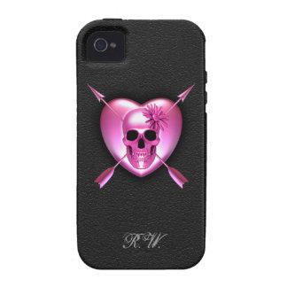 Caso del iPhone rosado 4 del corazón y del cráneo Case-Mate iPhone 4 Fundas