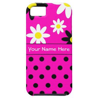 Caso del iPhone rosado 5/5S de la flor y del lunar Funda Para iPhone SE/5/5s
