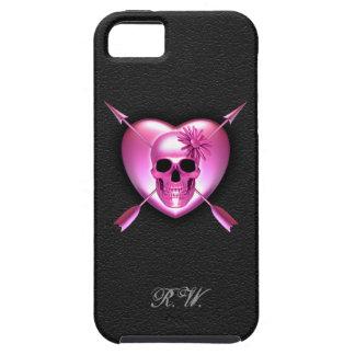 Caso del iPhone rosado 5 del corazón y del cráneo iPhone 5 Coberturas