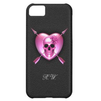Caso del iPhone rosado 5 del corazón y del cráneo