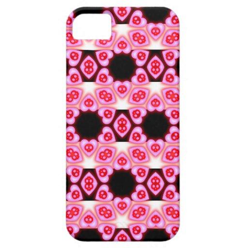 Caso del iphone rosado rayado 5 de los corazones y iPhone 5 Case-Mate coberturas