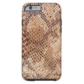 Caso del modelo de la piel de serpiente del pitón funda de iPhone 6 tough
