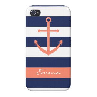 Caso del monograma del ancla de los azules marinos iPhone 4/4S carcasas