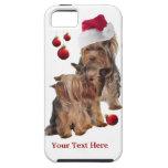 Caso del navidad del iPhone 5 del perrito de Yorki iPhone 5 Funda