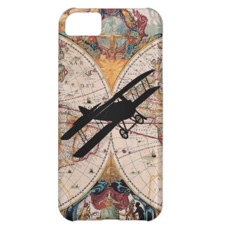 Caso del piloto del aviador del biplano del mapa d funda para iPhone 5C