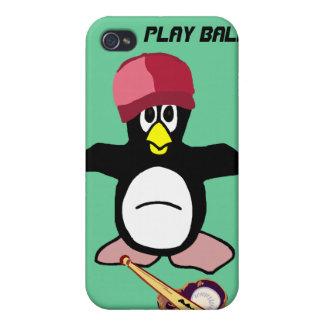 Caso del pingüino del béisbol de la bola del juego iPhone 4/4S fundas